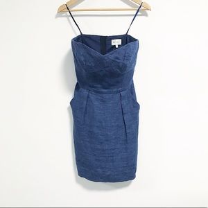 Milly. Linen Strapless mini dress. chambray blue